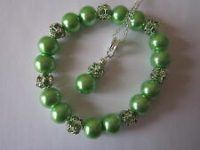 Silver Plated Jewellery Set in Lime Green Pearl and Rhinestone Beads