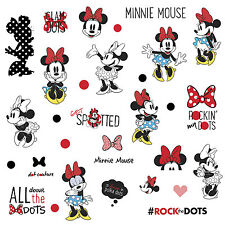 CLASSIC MINNIE MOUSE ROCKS THE DOTS 35 New WALL DECALS Girls Bedroom Stickers