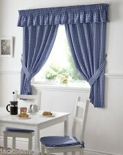 BLUE GINGHAM EMBROIDERED PELMET TO MATCH KITCHEN CURTAINS L136X W10