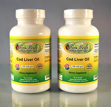 Cod Liver Oil 1250mg, joint pain, anti-oxidant, heart - 200 (2x100) soft gels
