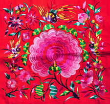 Square Chinese tribal miao hmong red machinemade embroidery Blooming