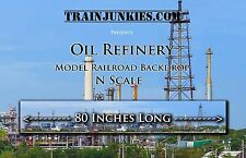 "Train Junkies N Scale ""Oil Refinery""  Backdrop 12X80"" C-10 Mint-Brand New"