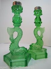 Old Pair Green Depression Glass Dauphin Koi Fish Lamp Base Candle Holders ornate