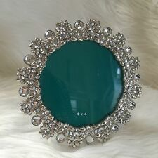 "Windsor photo frame bling rhinestone 4"" round silver metal tabletop picture"