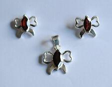 Granat Schmuck Set in 925er Silber, Granat Set im Design Schmetterling