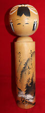 Japanese Traditional Wooden Kokeshi Doll 27cm Tall Signed Haiku Poem Tree Japan