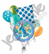 7 pc 1st Blue Happy Birthday Balloon Bouquet Party Decoration Baby One First Boy