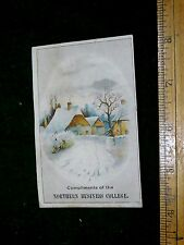 1870s-80s Lovely Winter Scene Northern Business College, Watertown, NY Card F16