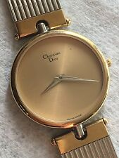 CHRISTIAN DIOR 3026 Stainless Steel Gold Dial Swiss Made Men's Watch Nice