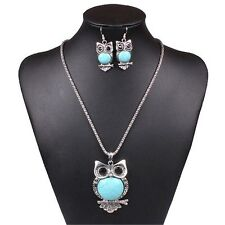 Cute Blue Turquoise Owl Pendant Tibet Silver Earrings Necklace Bracelet New Set