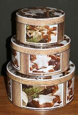Christmas Set 3 Cake Tins Biscuit Storage Tin Cinnamon Star Xmas Stackable New