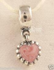 YOUNG LOVE Authentic PANDORA Pink Enamel VALENTINE Heart Dangle Charm/Bead NEW