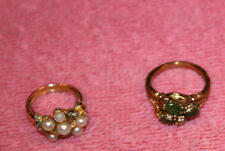 2 Vintage Costume Rings 1 Uncas Crystal & Jade like & 1 Pearly Beads & Crystal