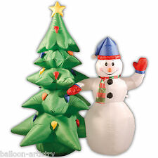 6ft Deluxe Light Up Christmas SNOWMAN TREE Outdoor Inflatable Garden Decoration