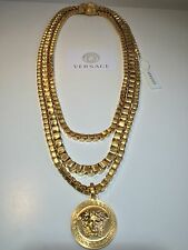 AUTHENTIC VERSACE TRIPLE CHAIN NECKLACE GOLD PLATED MEDUSA