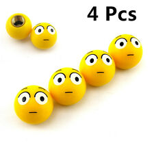 A Set Yellow Shocked Expression Vehicles Wheel Tire Air Dust Caps For Mitsubishi