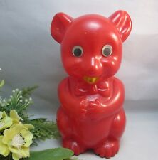 Vtg Groovy 1960's Best . M.red plastic teddy bear piggy,coin bank w/ googly eyes