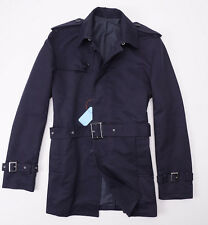 NWT $1695 BATTISTI NAPOLI Navy Blue Trench Coat w/ Wool Lining 50/M Slim-Fit