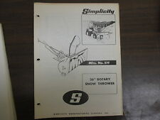 """Simplicity 36"""" Snow thrower blower owners & parts & maintenance manual Model 519"""