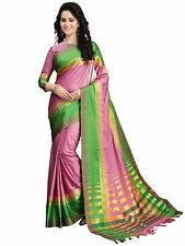 Baby Pink and Green Designer Cotton Silk Saree with Blouse Bollywood saree