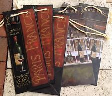 Fabrice De Villeneuve New 5 Wine Bottle Holders Gift Totes Bags With Cards
