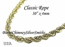 """18K Gold Overlay Classic Rope Chain 30"""" x 4mm Heavy Plated GP With Warranty"""