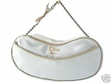 Christian Dior Parfums White Bow Chain Zip Cosmetic Case Makeup Bag Pouch