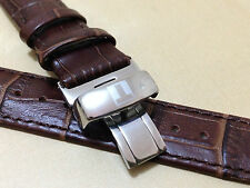 20mm Gents Brown Leather Deployment Strap with Tissot Stainless Steel Clasp