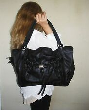 $1840. genuine BURBERRY Italy LEATHER Black SHOULDER PURSE Couture LARGE Tote