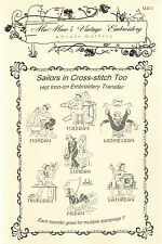 M411 X-Stitch Sailor Too Embroidery hot iron-on transfers for tea towels
