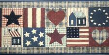 Rustic Star Heart US Flag Wall paper Border American Country House Wall Decor