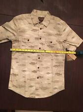 NWT Northwest Territory Short sleeve button down dress shirt beige olive w fish