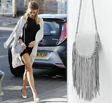 ZARA GREY LEATHER MESSENGER BAG WITH FRINGE DETAIL & SILVERTONE CHAIN *CELEBRITY