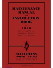 Matchless Maintenance Instruction Manual 1946 46/G3L & 46/G80L Clubman Models