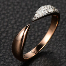 Diamond Wedding Band Anniversary Ring in 14K Rose Gold,Pave Unique Design