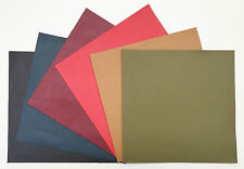 LEATHER PIECES OF VEG-TAN SHEEPSKIN CRAFT PACK 6 @ 15CM X 15CM ASSORTED COLOURS