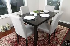 5pc Espresso Dining Room Kitchen Set Table 4 GREY Fabric Parson Chairs 5 piece