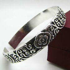LMFR14xiaoSHH  Beautiful carved flower tibet silver bracelet cuff bangle
