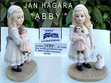 * JAN HAGARA * ABBY * PORCELAIN CHINA * GIRL with DOLL * COLLECTORS FIGURINE *