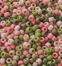 50 Pink Camouflage Plastic Pony Peads 9mm Pink Khaki Green Pink Camo