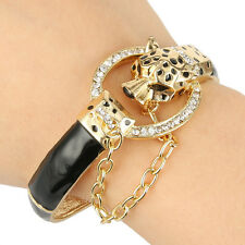 Pop Leopard Panther Animal Bangle Bracelet Cuff Black Austrian Crystal Gold GP