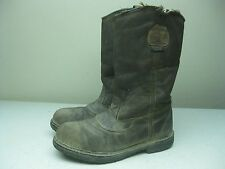 GRAY DISTRESSED RED WING WORX STEEL TOE SAFTEY WORK FARM PACKER BOOTS SIZE 9 EE?
