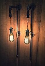 PAIR Metal Pipe Sconces VINTAGE Brass FILAMENT BULB Lights STEAMPUNK Cloth Cord