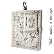 Silber Medaillon Anhänger ziseliert Monogramm Initiale HB silver locket encased
