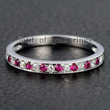 Moissanite Ruby Wedding Band Eternity Ring 14K White Gold,Stackable 1.5mm Round
