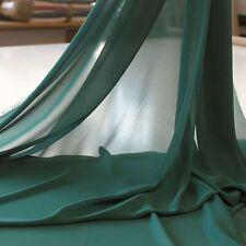 dkl. grün CHIFFON Stoff Gardinenstoff Vorhang Kleiderstoff Dekostoff Meterware