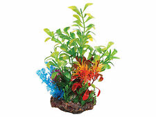 Sucker Mounted Plant with Rock Base Aquarium Ornament Fish Tank Decoration