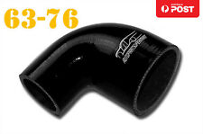 """4 Ply Silicone 90 Degree Reducer Elbow Joiner Hose Pipe 63mm-76mm 2.48""""-3"""" Black"""