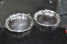 """Christofle France Silverplate Set of 2 Trays Butter Dishes Coasters 3 3/8"""" Nice!"""