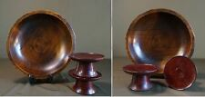 3 Pieces of Korean Antique Large Wooden Bowl & Footed Dishes